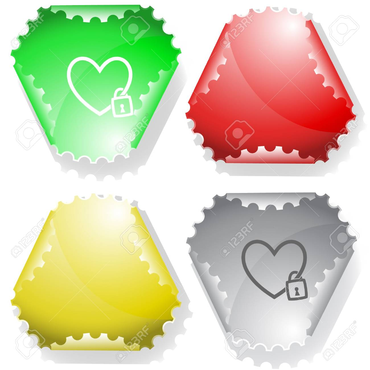 Closed heart. sticker. Stock Vector - 6695911