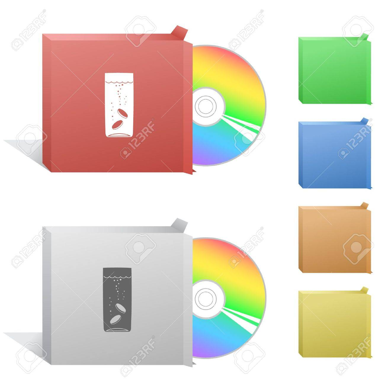 Glass with tablets. Box with compact disc. Stock Vector - 6732263