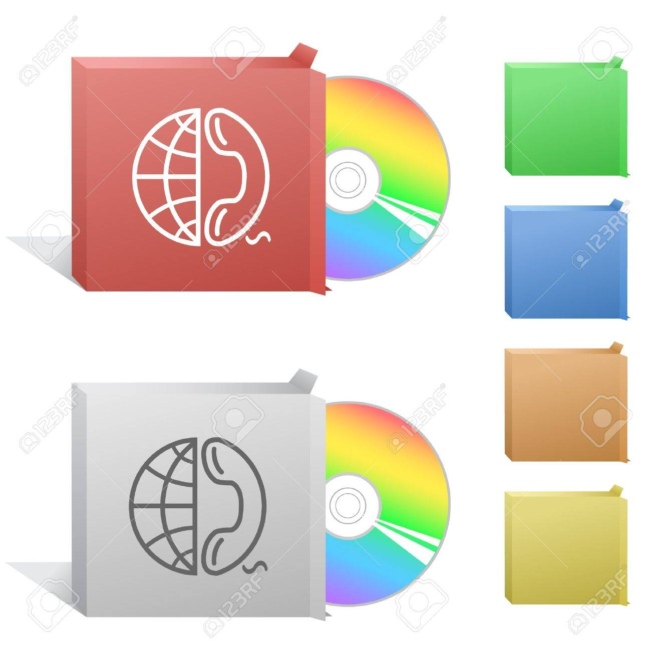 Globe and phone. Box with compact disc. Stock Vector - 6732270