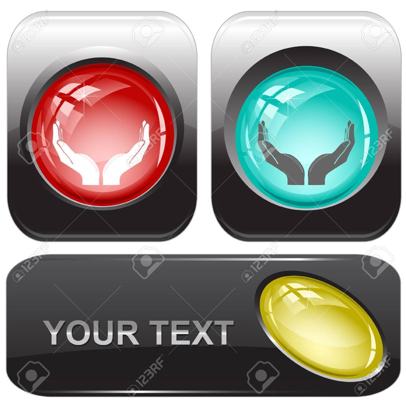 Human hands. internet buttons. Stock Vector - 6776147