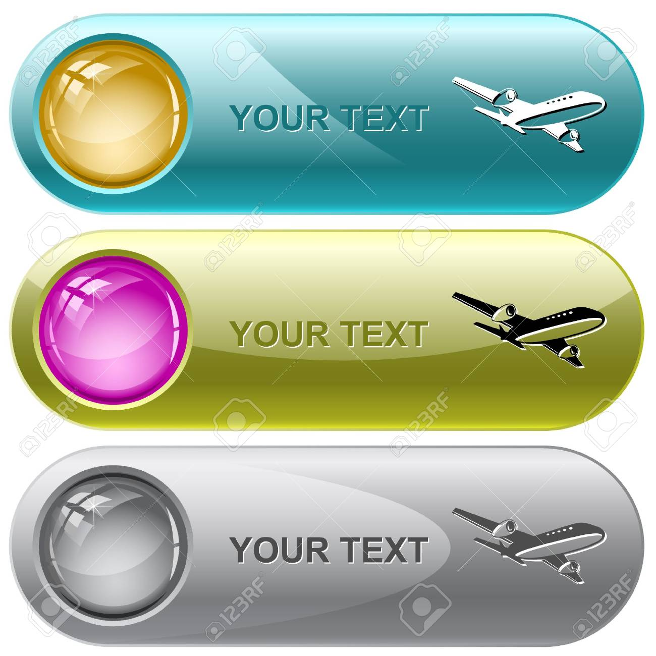 Airliner. internet buttons. Stock Vector - 6776395