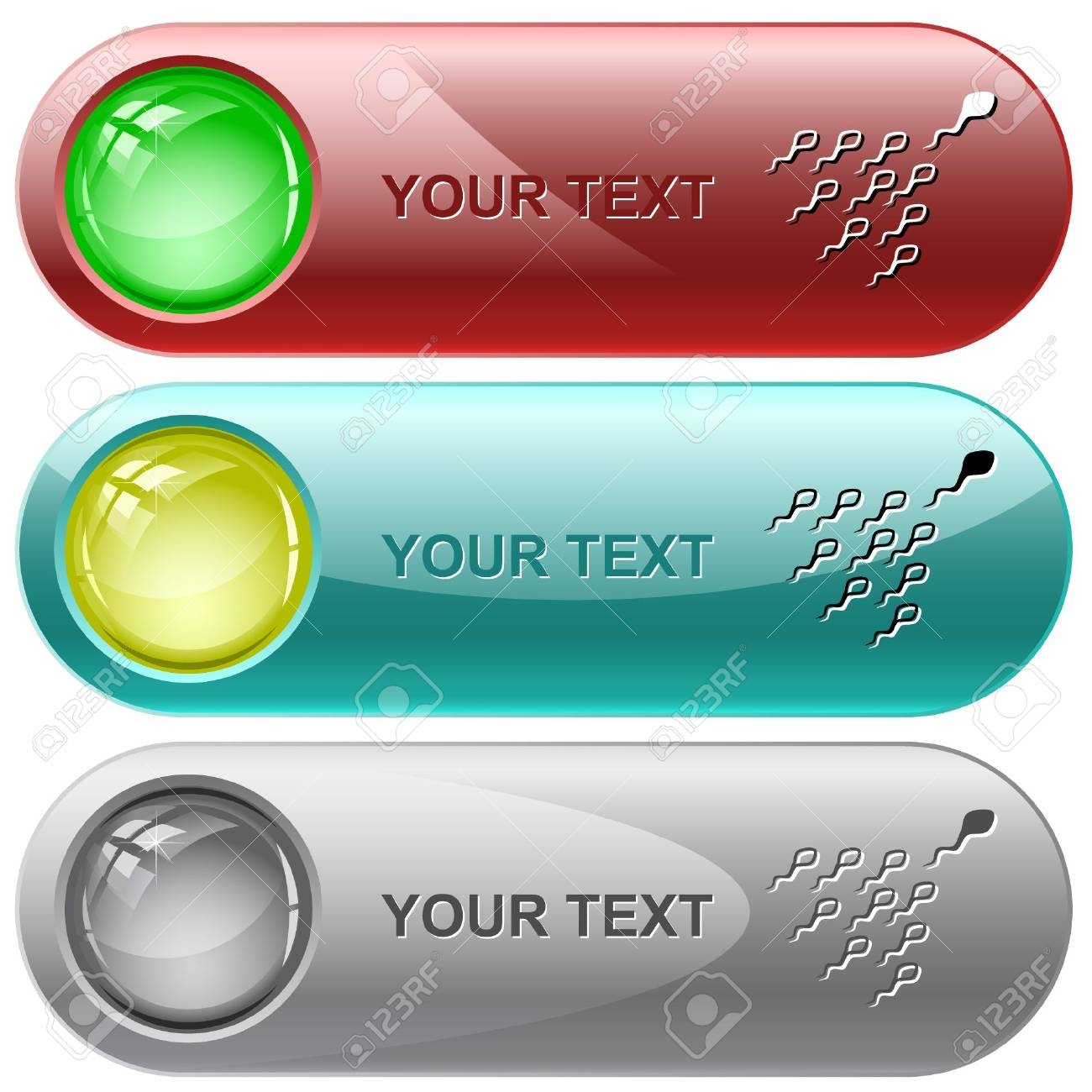 Spermatozoon. internet buttons. Stock Vector - 6776390