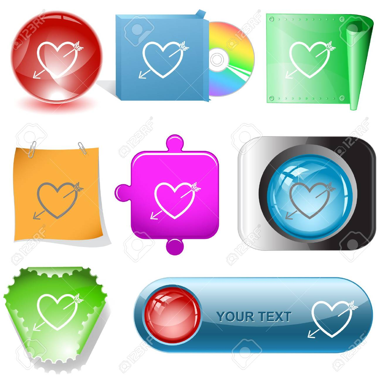 Heart and arrow. internet buttons. Stock Vector - 6777231