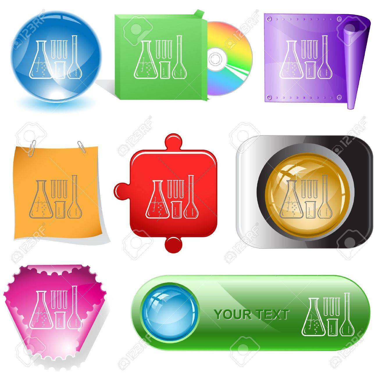 Chemical test tubes. internet buttons. Stock Vector - 6778171