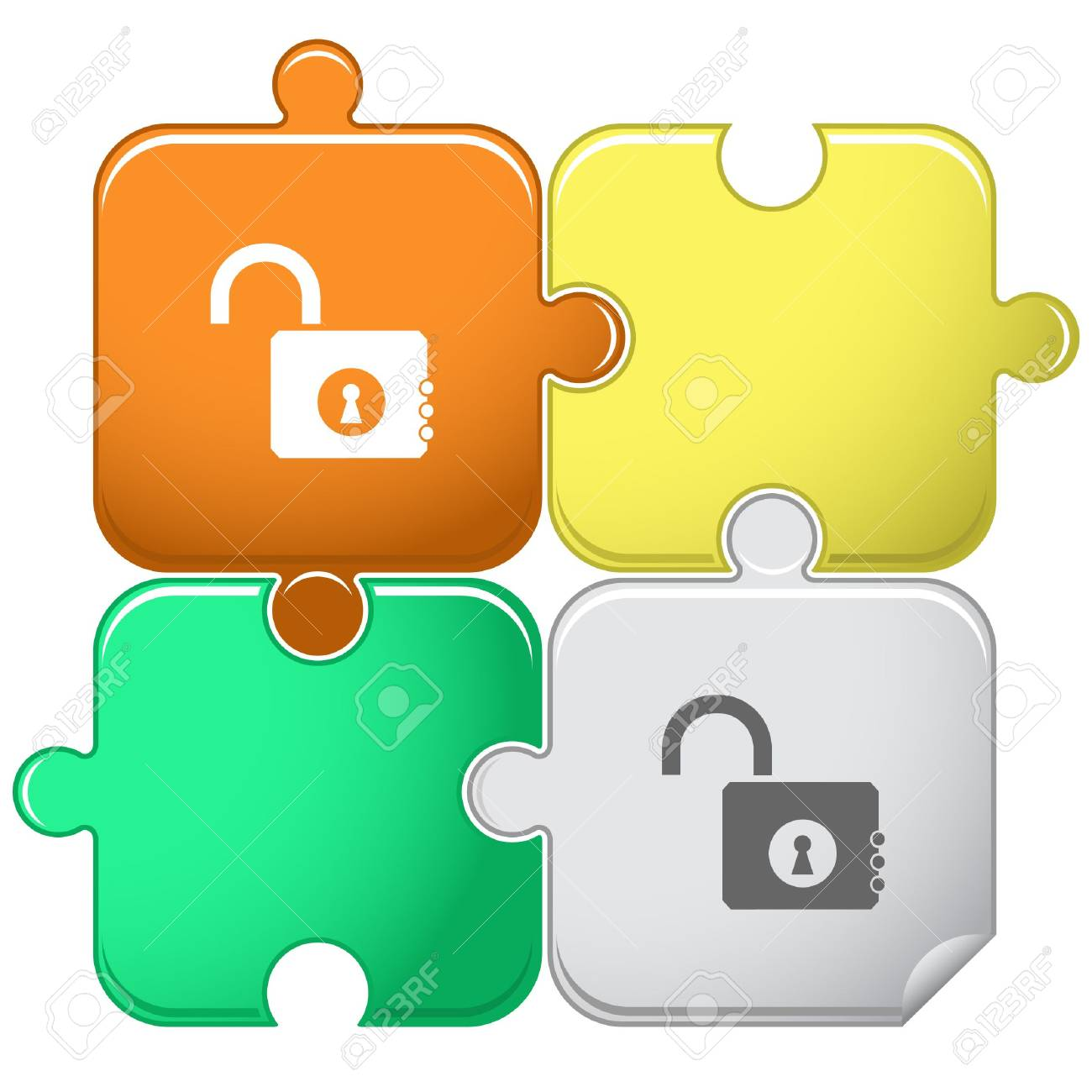 Opened lock. puzzle. Stock Vector - 6778310