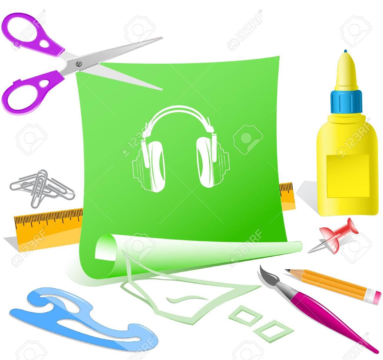 Headphones. Vector paper template. Stock Vector - 6846652