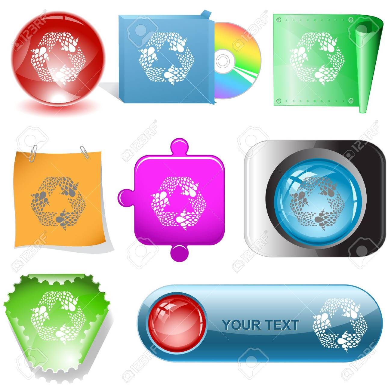 Recycle symbol. Vector internet buttons. Stock Vector - 6846901