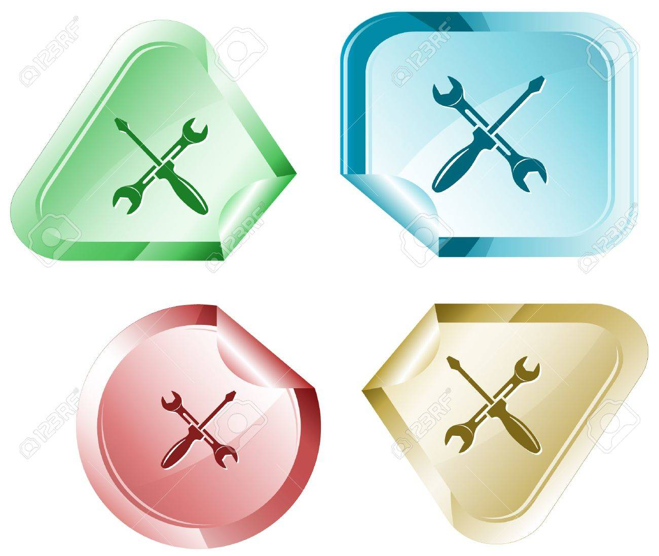 Screwdriver and spanner. sticker. Stock Vector - 6862575