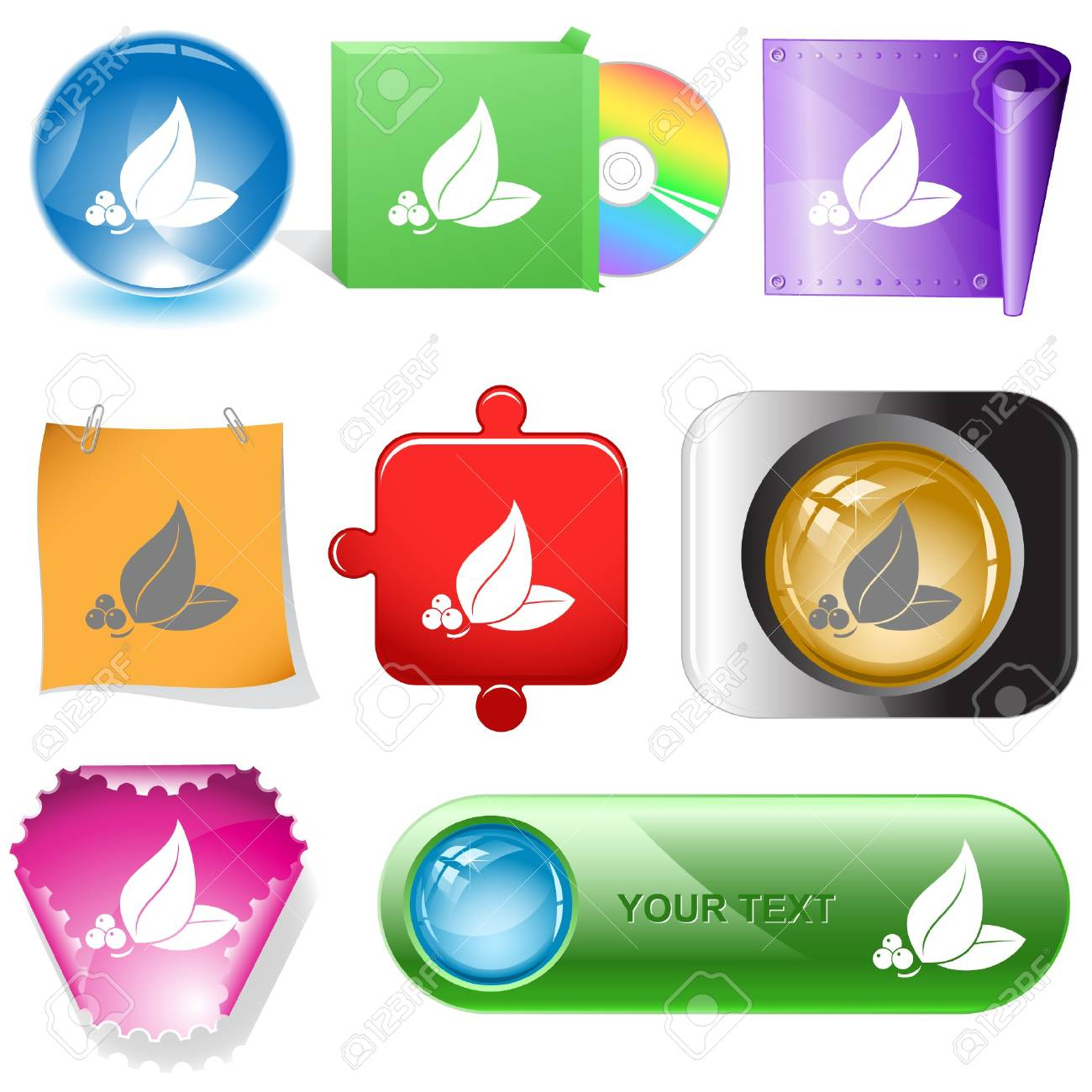 Leaf.   internet buttons. Stock Vector - 6862917