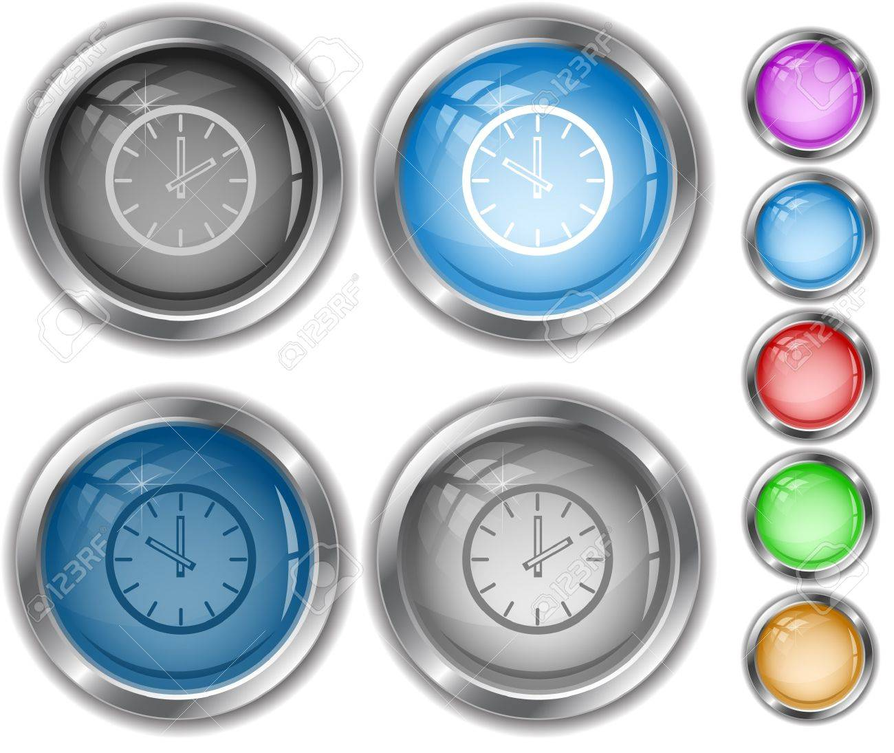 Clock.  internet buttons. Stock Vector - 6986048
