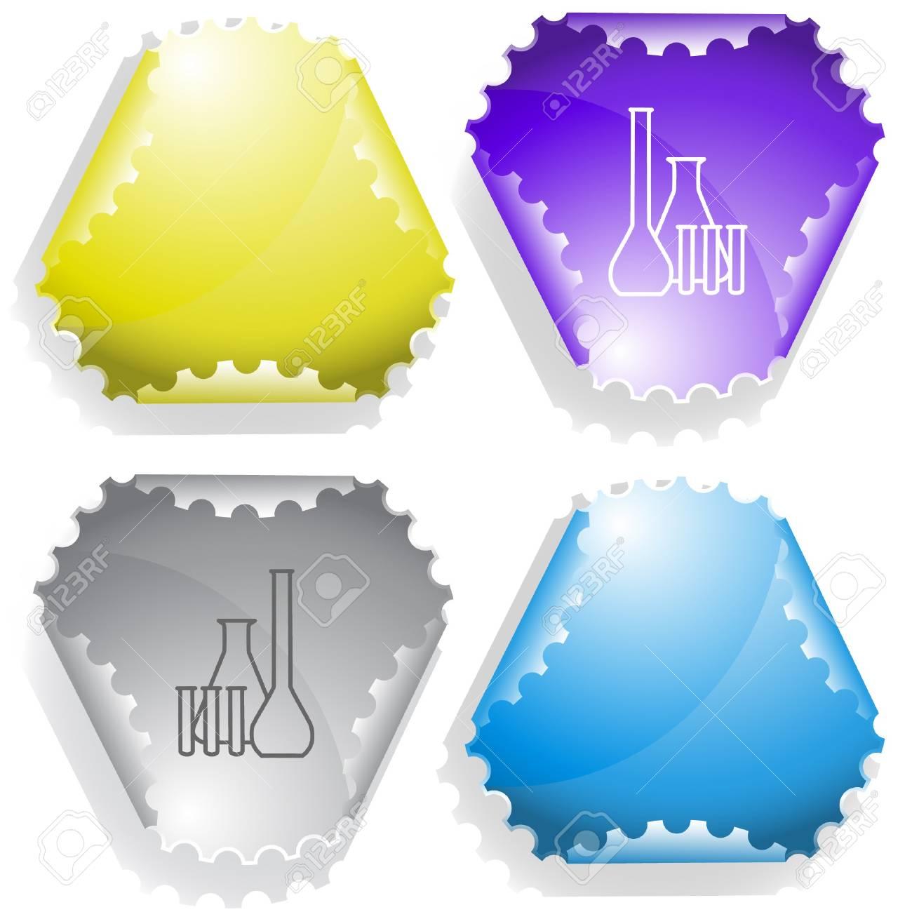 Chemical test tubes. sticker. Stock Vector - 6986175
