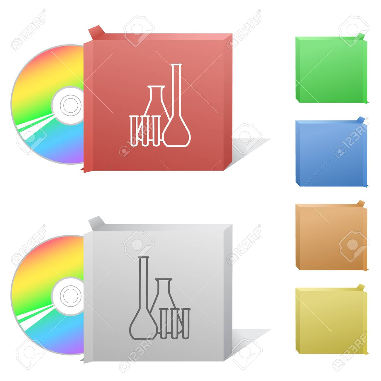Chemical test tubes. Box with compact disc. Stock Vector - 6986242