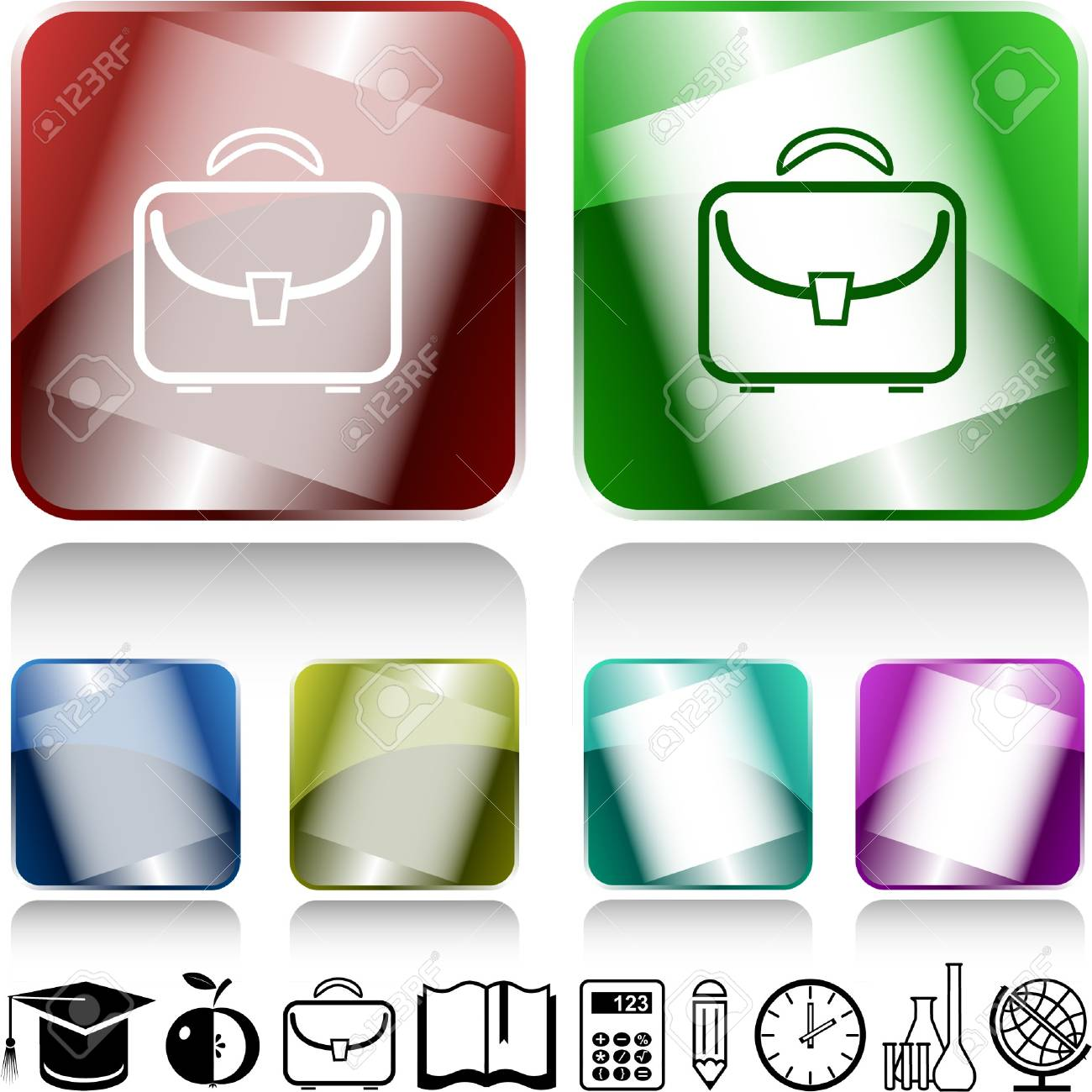 Briefcase. internet buttons. Stock Vector - 6986056