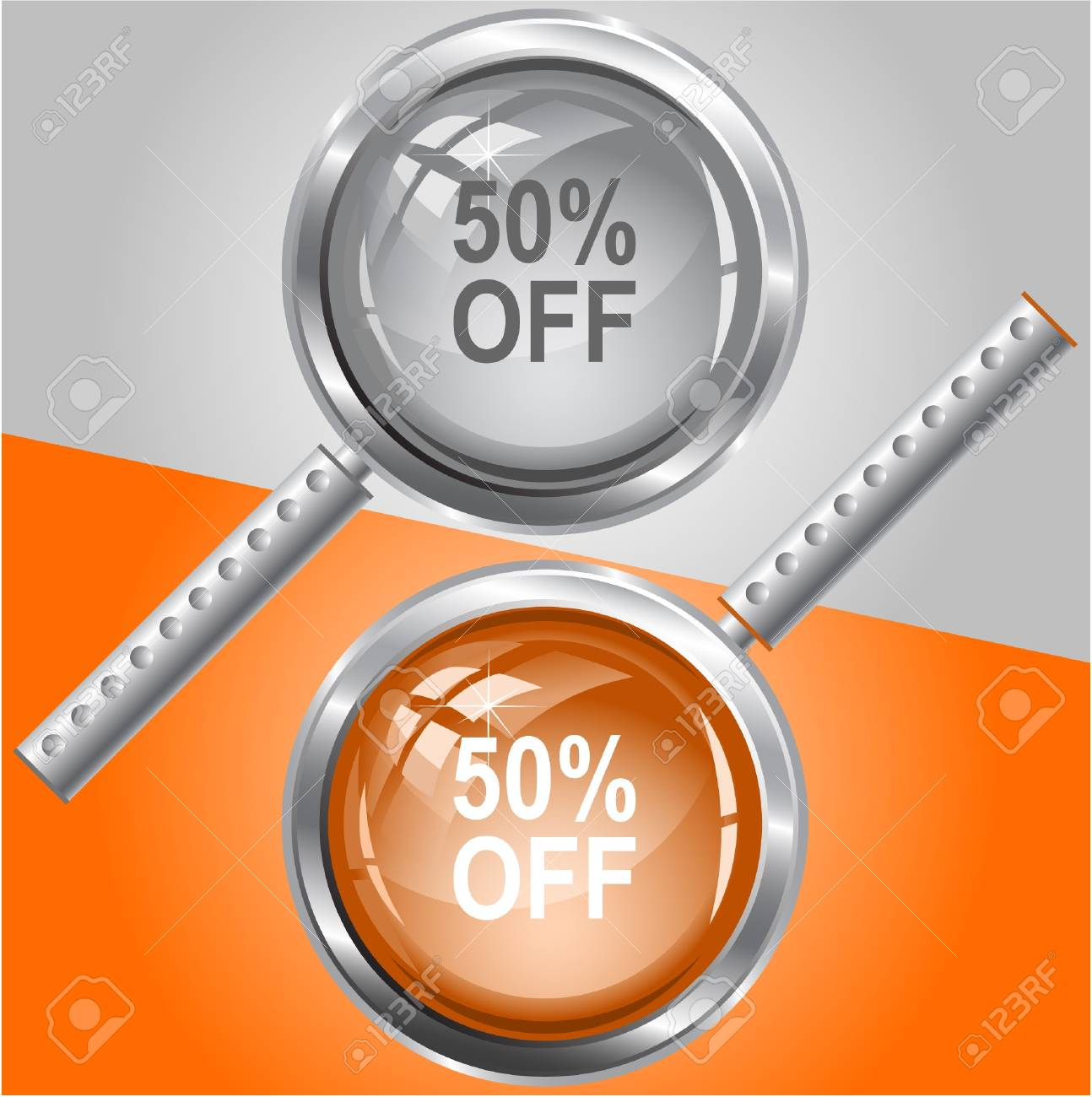 50% OFF. magnifying glass. Stock Vector - 7176071