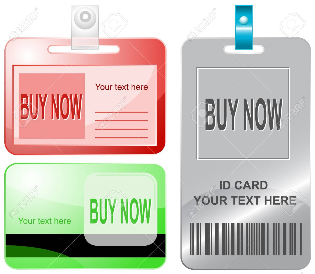 Buy now. id cards. Stock Vector - 7176220