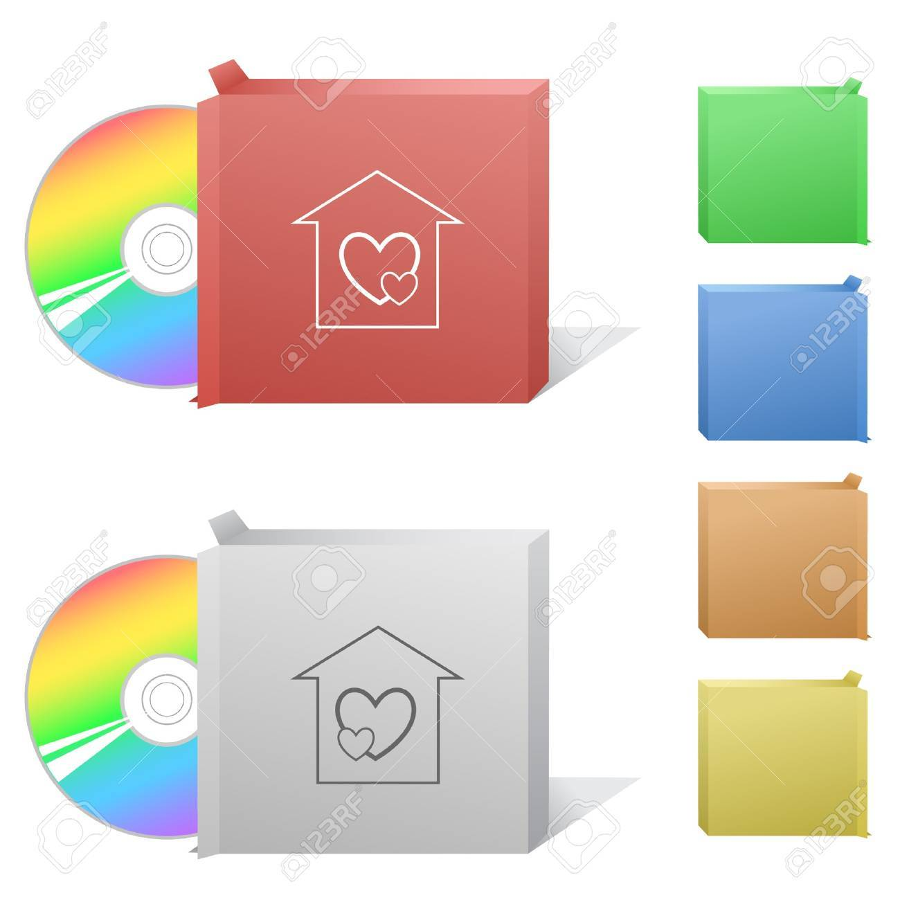 Orphanage. Box with compact disc. Stock Vector - 7176179