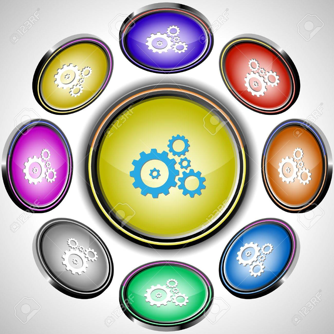 Gears. internet buttons. 8 different projections. Stock Vector - 7262037
