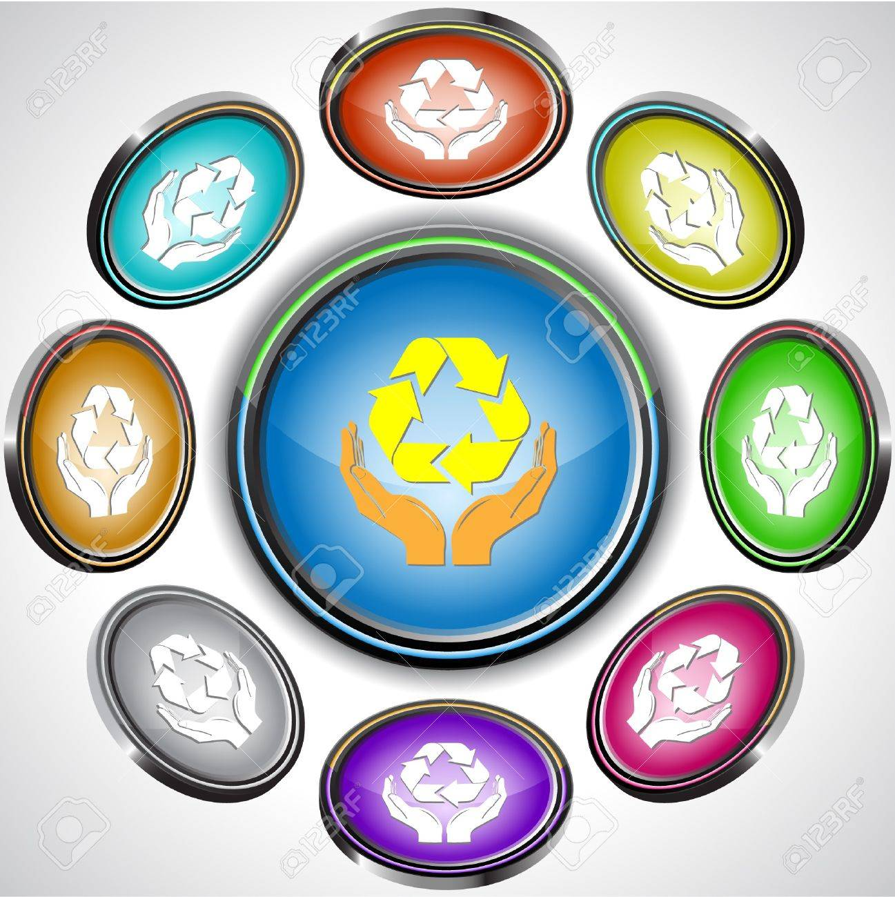 Protection nature. internet buttons. 8 different projections. Stock Vector - 7262063