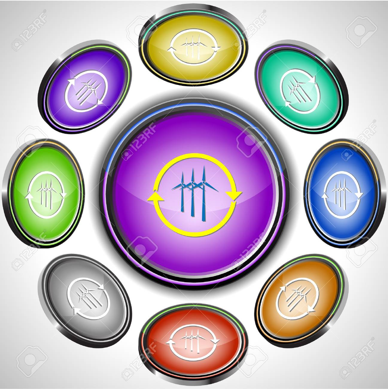 Wind turbine. internet buttons. 8 different projections. Stock Vector - 7261873