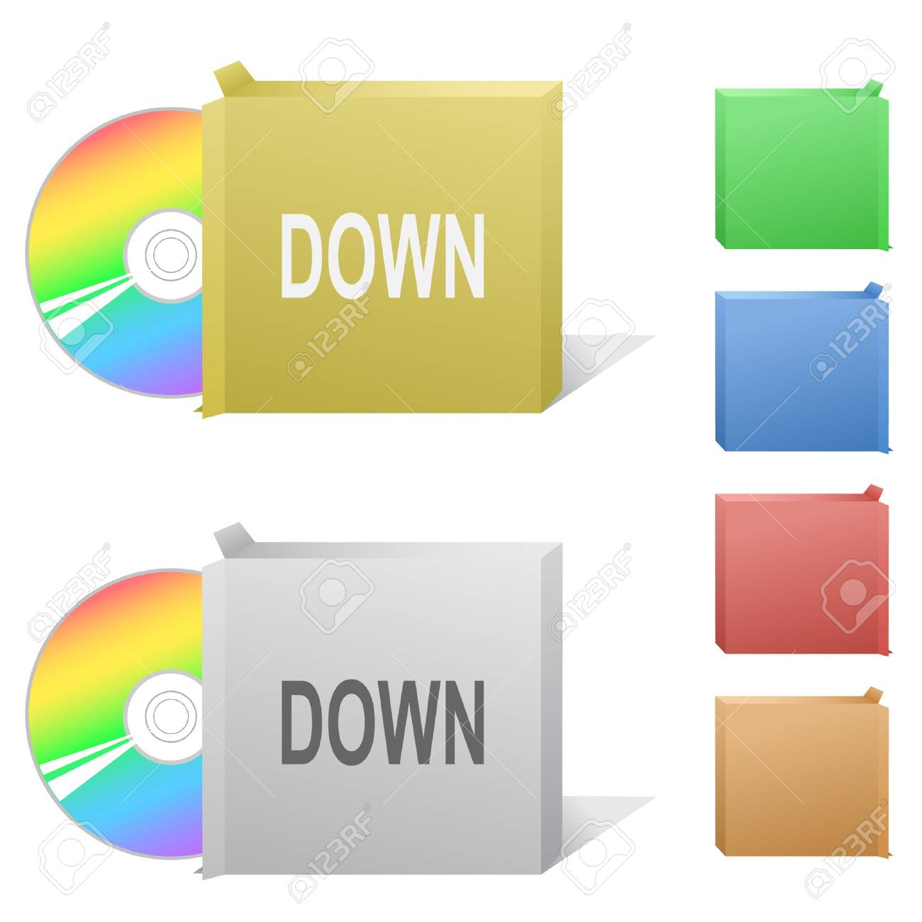 Down. Box with compact disc. Stock Vector - 7301883
