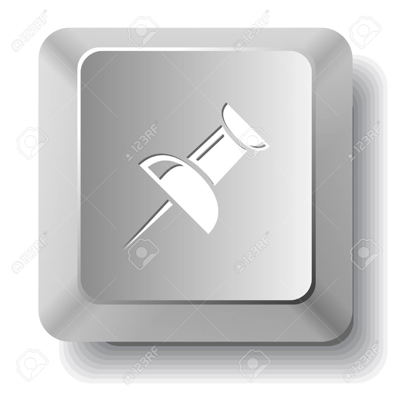 Push pin. computer key. Stock Vector - 7522621