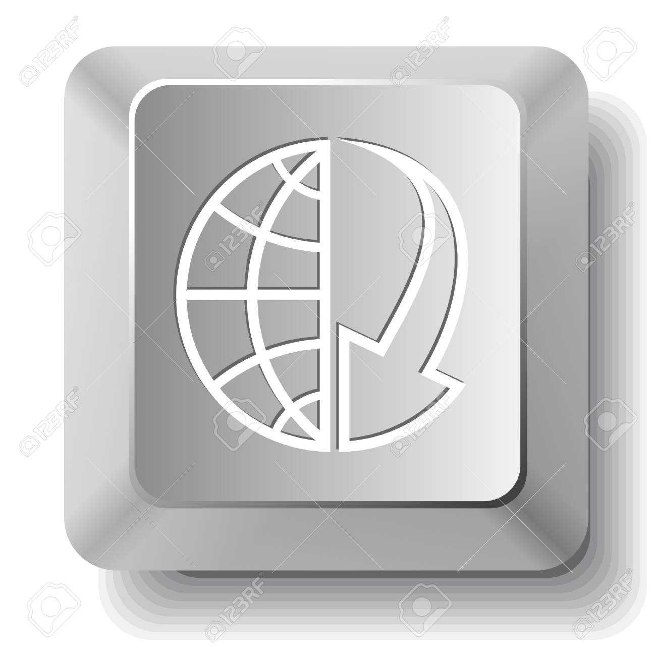 Globe and array down. computer key. Stock Vector - 7523508