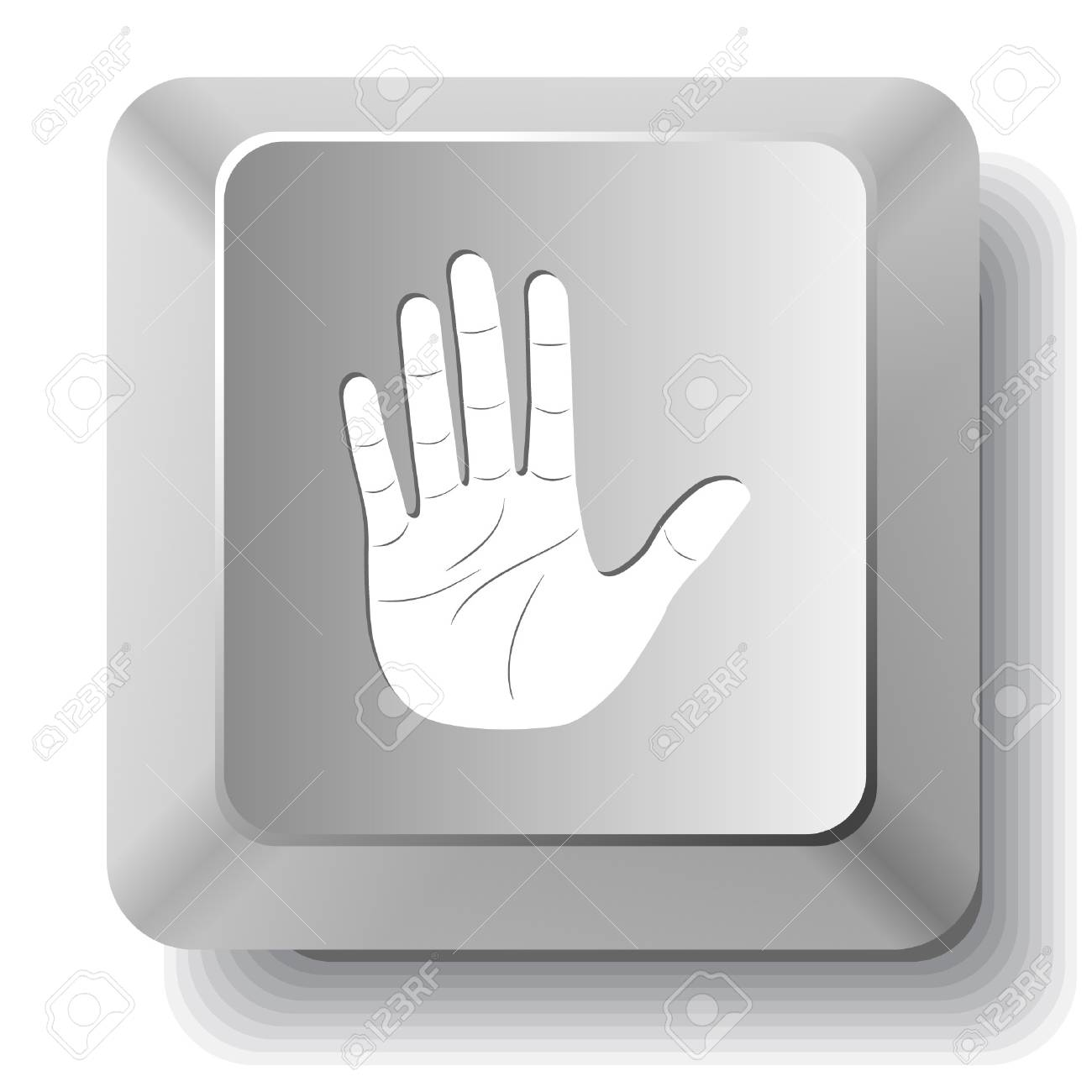 Stop hand. computer key. Stock Vector - 7523630