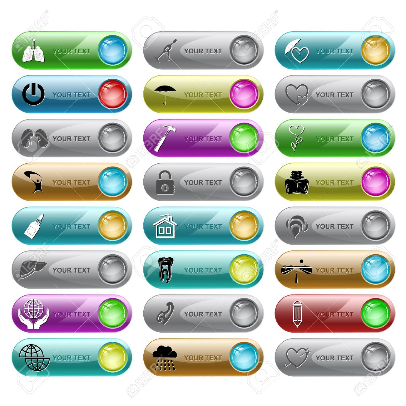 set of internet buttons. 24 elements. Stock Vector - 7602247