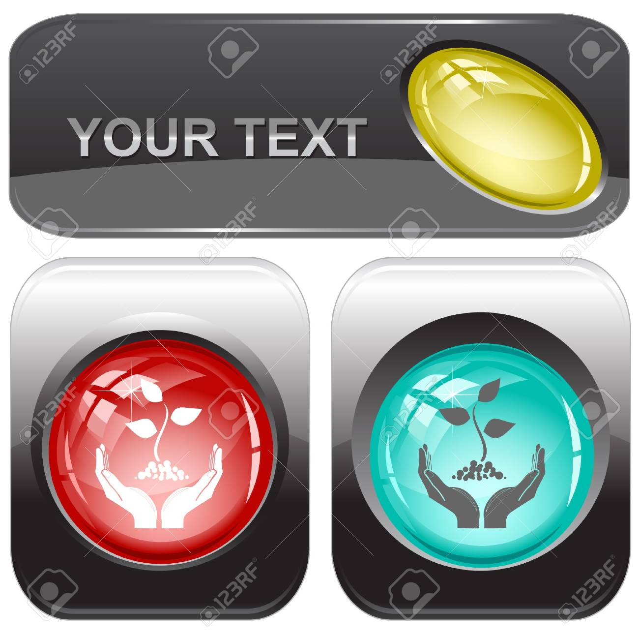 life in hands. Vector internet buttons. Stock Photo - 8179306