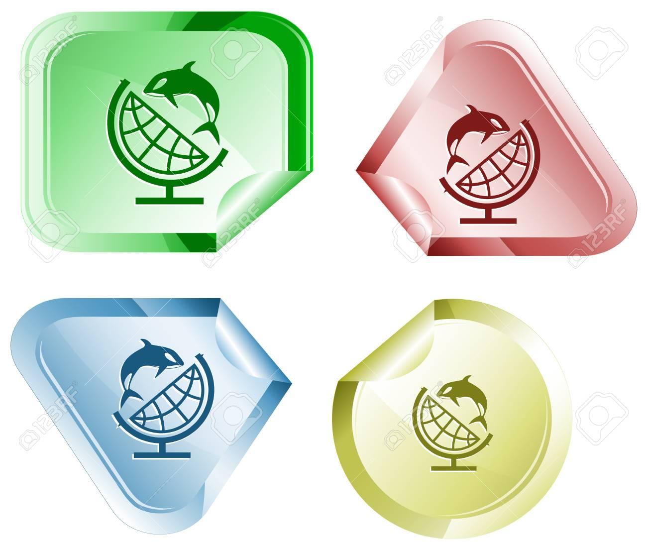 Globe and shamoo. Vector sticker. Stock Photo - 9168518