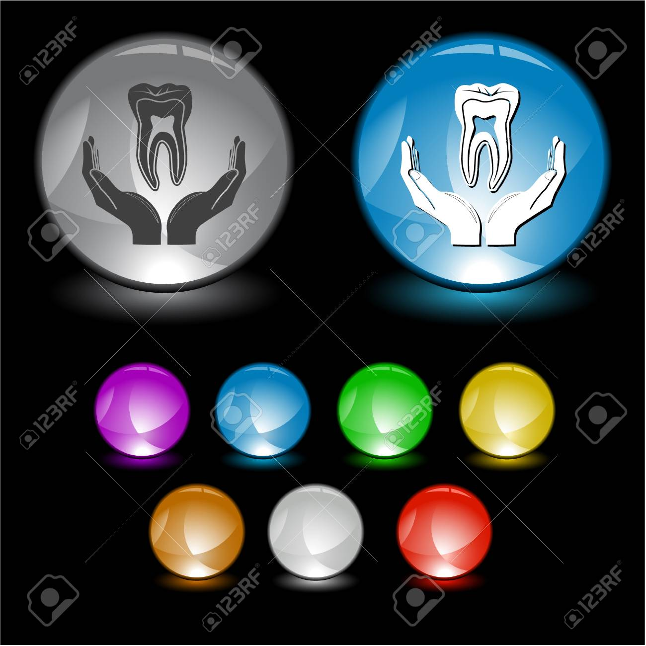 tooth in hands. Vector interface element. Stock Photo - 9271560