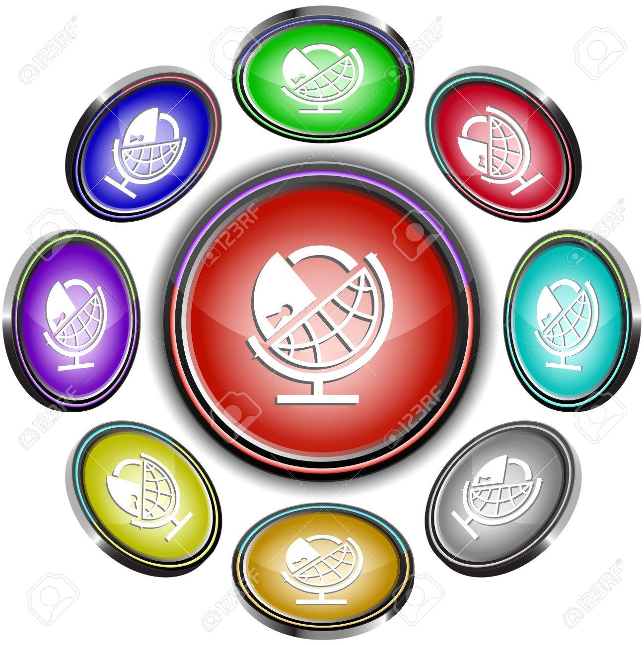 Globe and lock. Vector internet buttons. 8 different projections. Stock Photo - 9506456