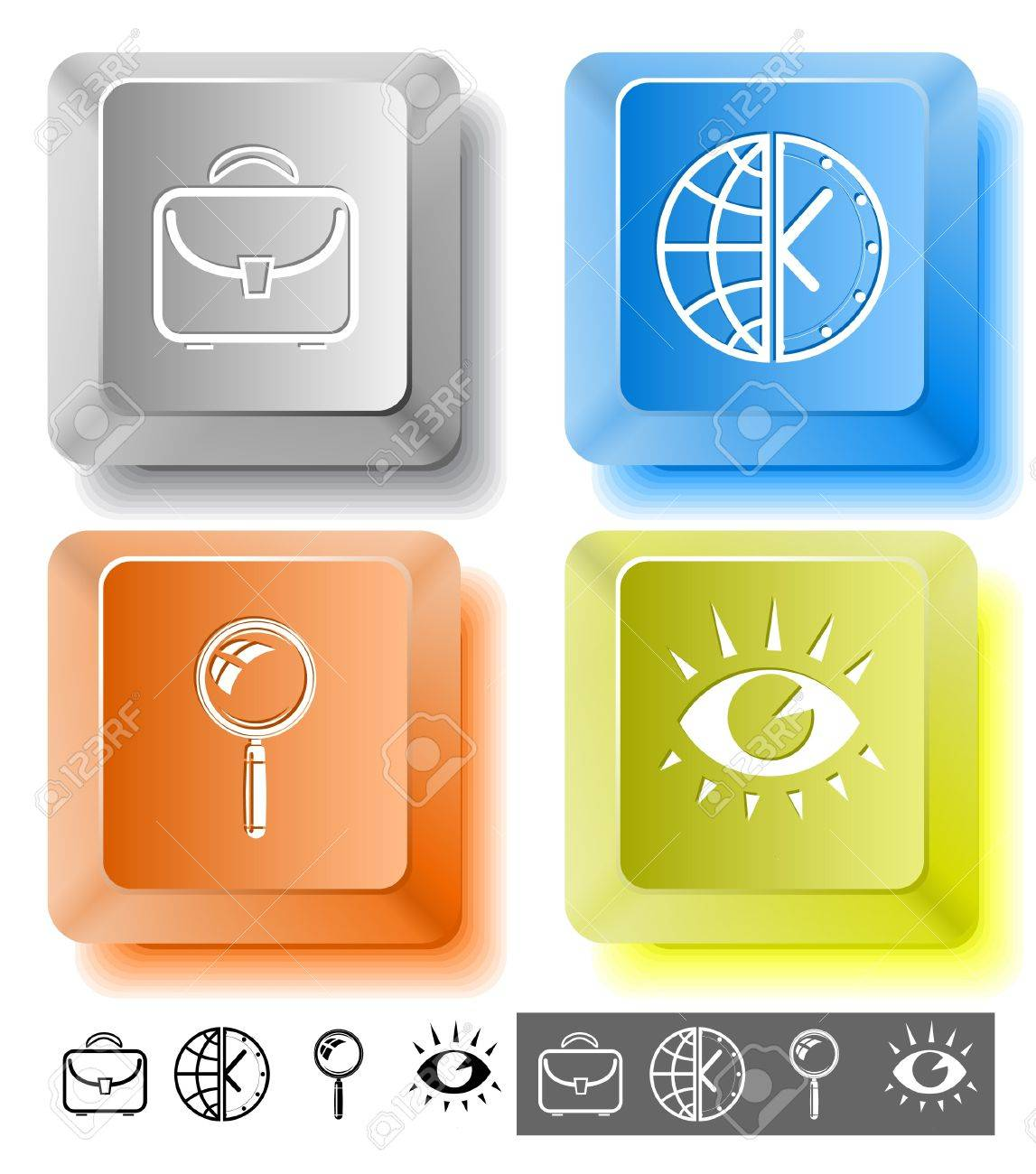 Business icon set. Magnifying glass, globe and clock, briefcase, eye. Computer keys. Vector illustration. Stock Illustration - 12920209