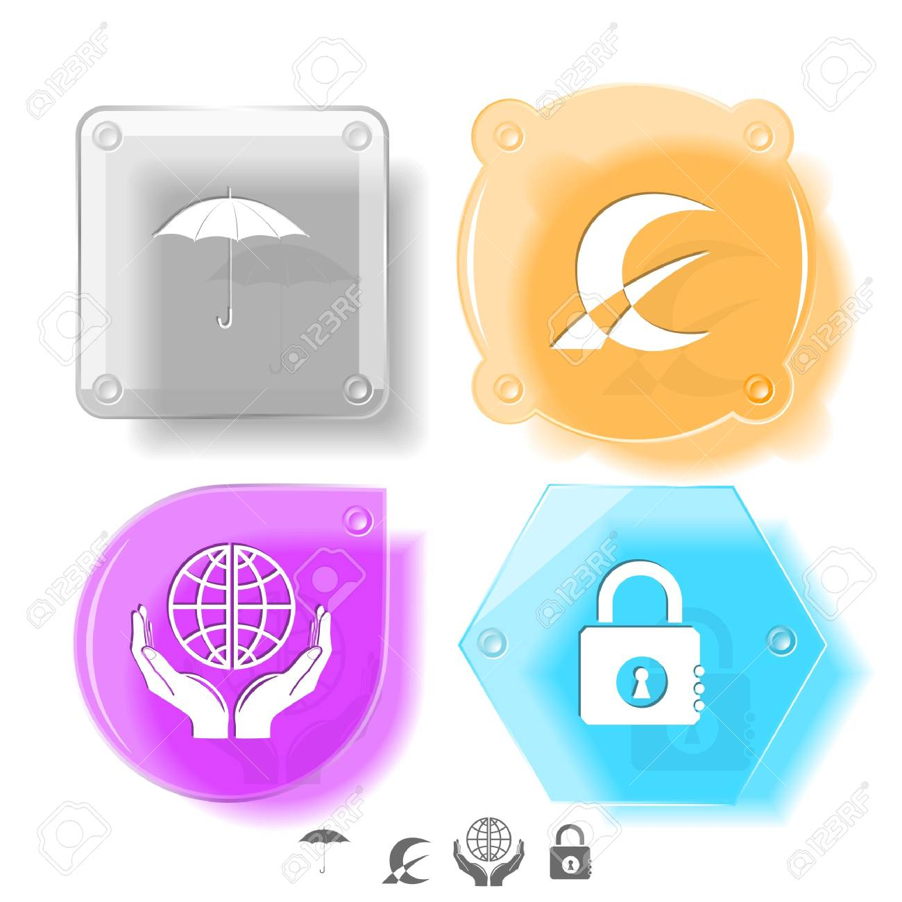 Business icon set. Protection world, closed lock, abstract monetary sign, umbrella.  Glass buttons. Vector illustration. Eps10. Stock Photo - 12920368