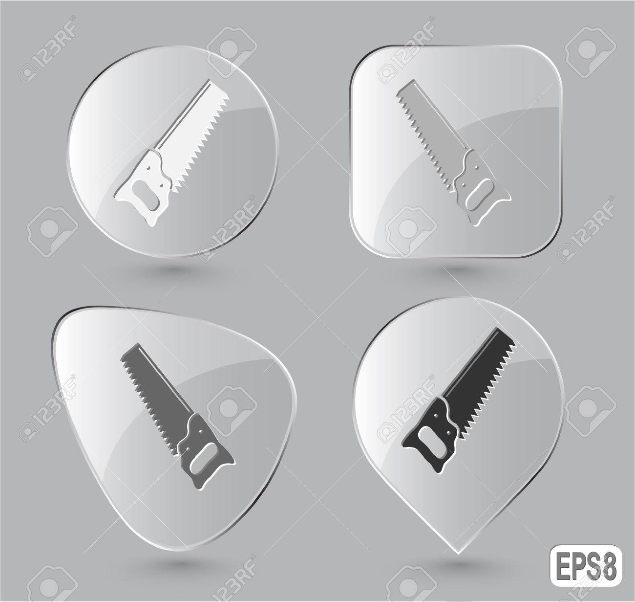 Hand saw. Glass buttons. Vector illustration. Stock Photo - 12920504
