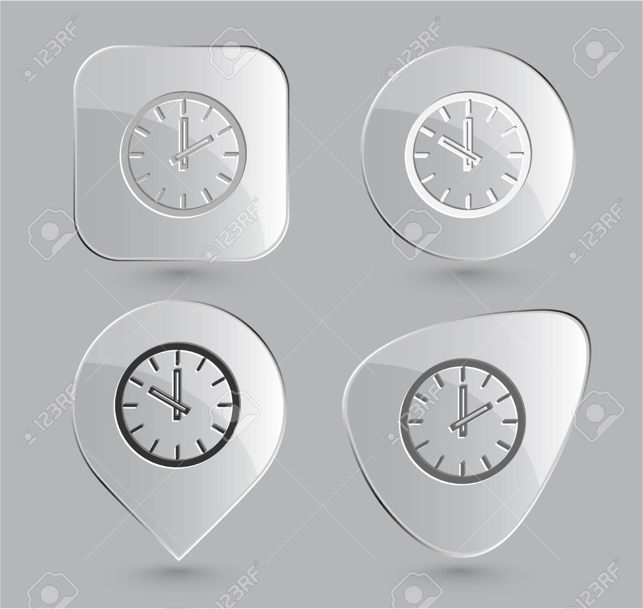 Clock. Glass buttons. Vector illustration. Stock Illustration - 12920511