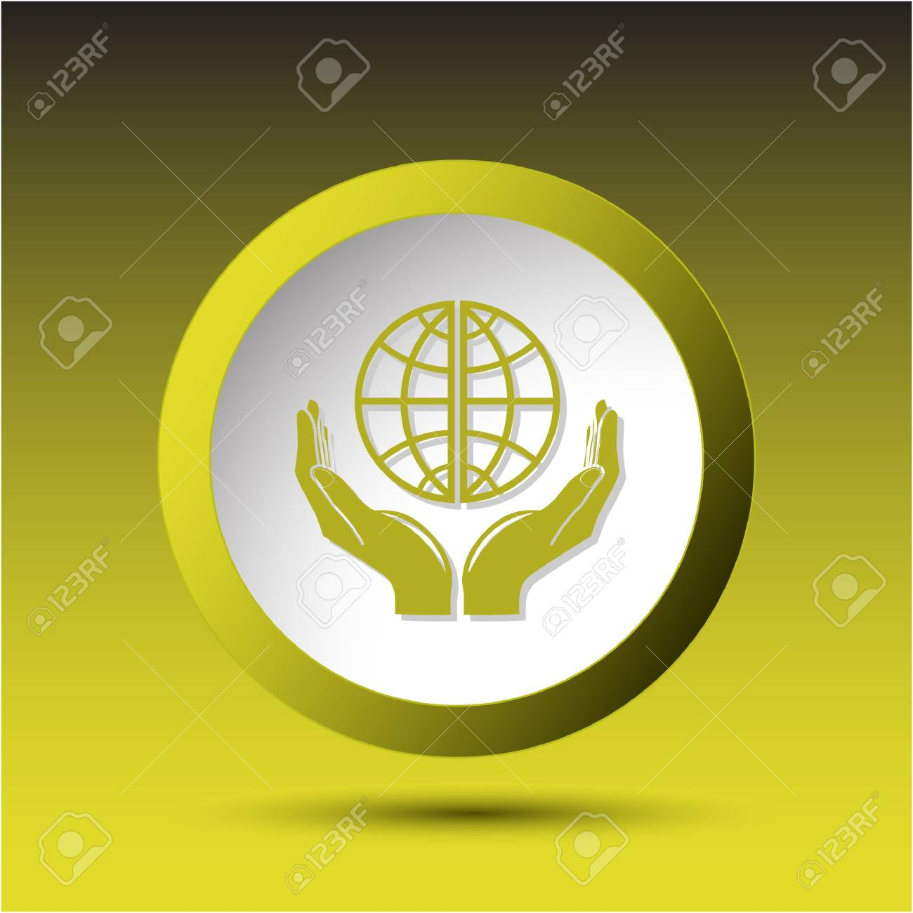 Protection world. Plastic button Stock Photo - 15469750