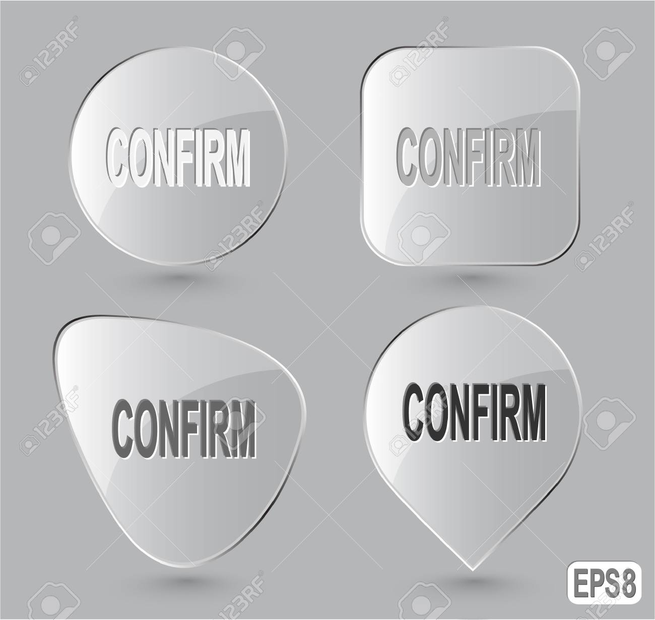 Confirm. Glass buttons. Stock Photo - 15590610