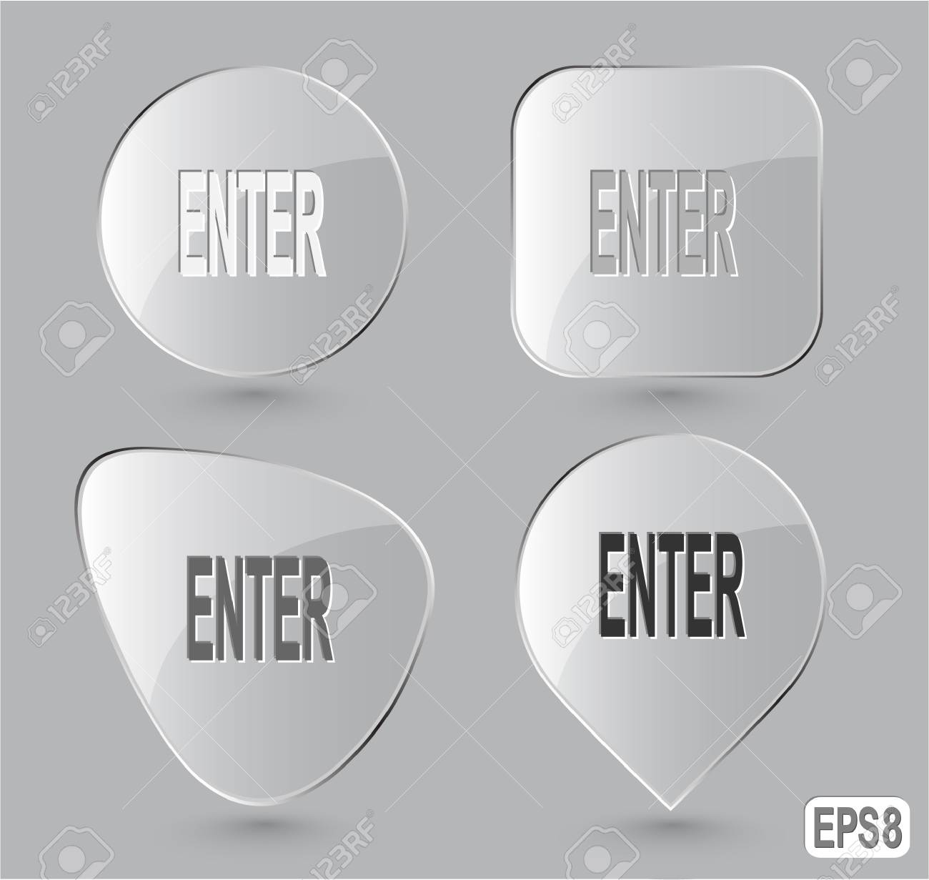 Enter. Glass buttons. Stock Photo - 15590597