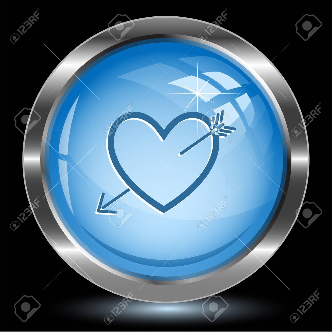 Heart and arrow. Internet button Stock Photo - 15809090