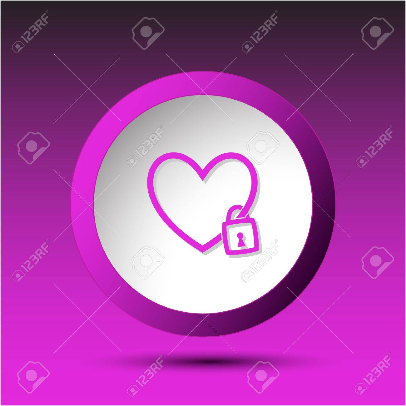 Closed heart. Plastic button. illustration. Stock Illustration - 17163687