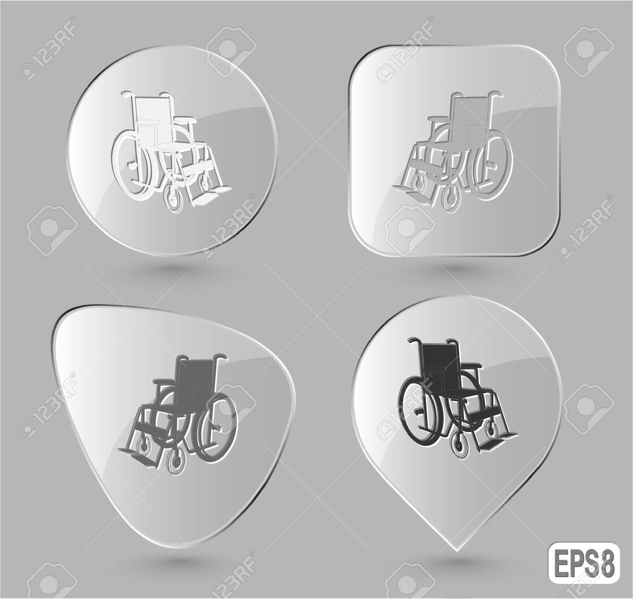 Invalid chair. Glass buttons. Vector illustration. Stock Illustration - 17194400