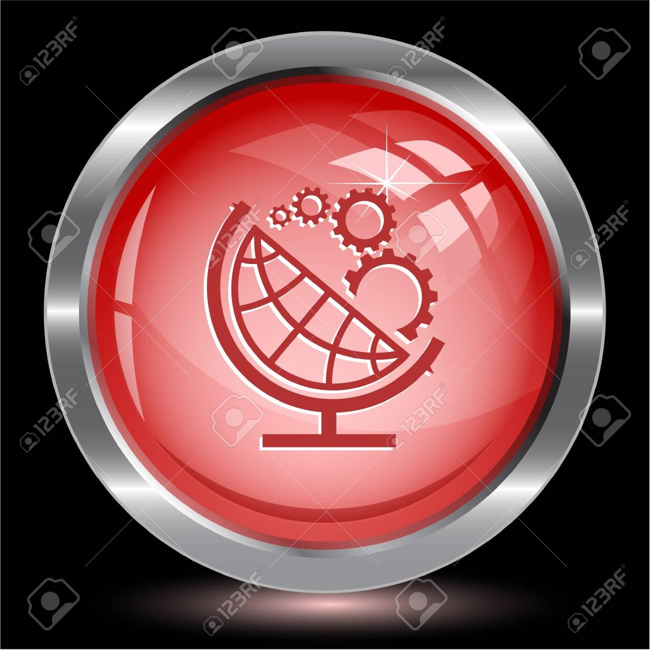 Globe and gears. Internet button.  illustration. Stock Illustration - 17240334