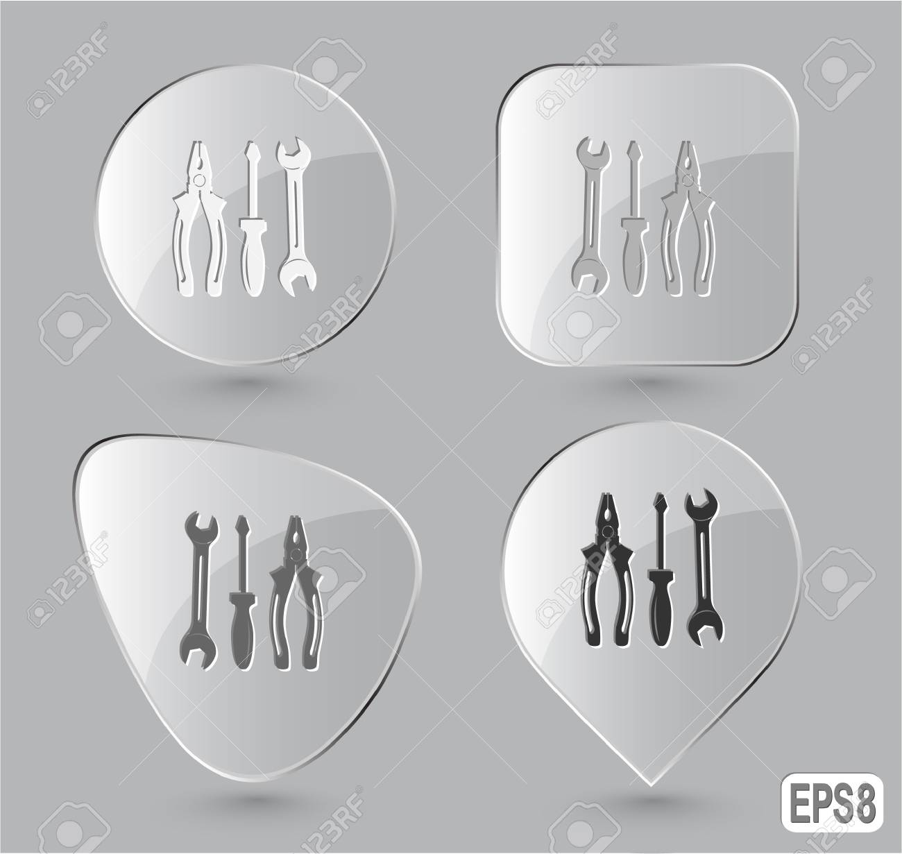 Tools. Glass buttons. Vector illustration. Stock Illustration - 17388716