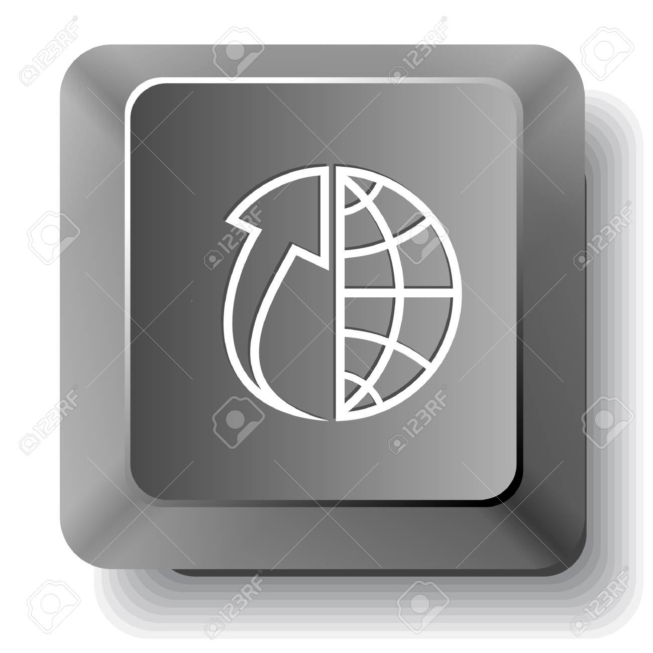 Globe and array up. Vector computer key. Stock Photo - 17833495