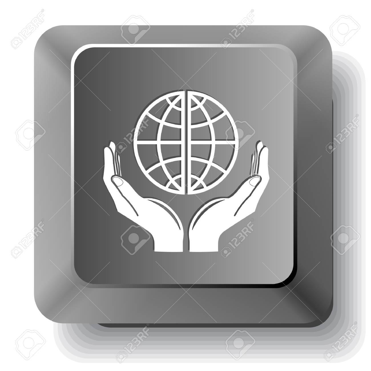 Protection world. Vector computer key. Stock Photo - 18278158