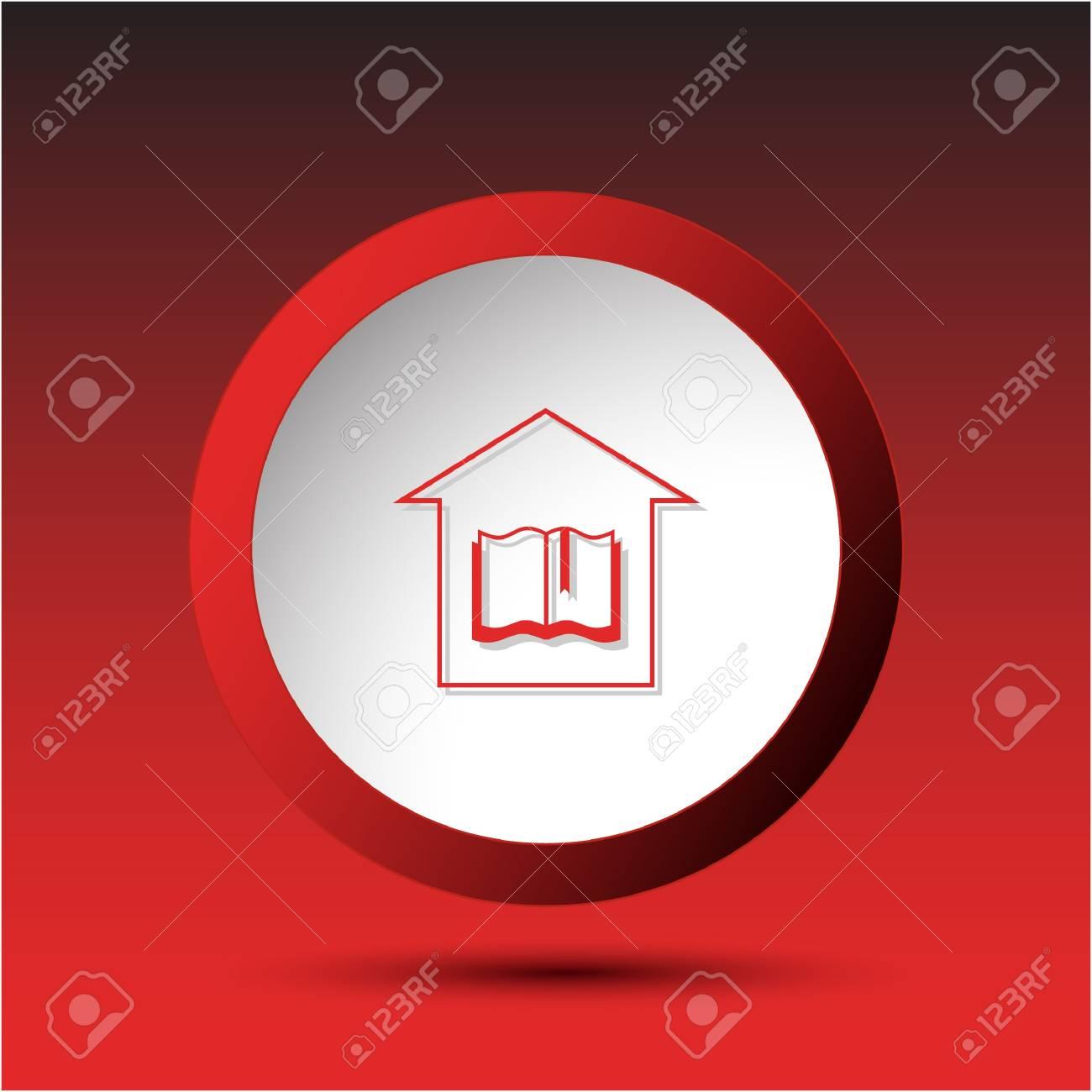 Library. Plastic button.  illustration. Stock Illustration - 18418256