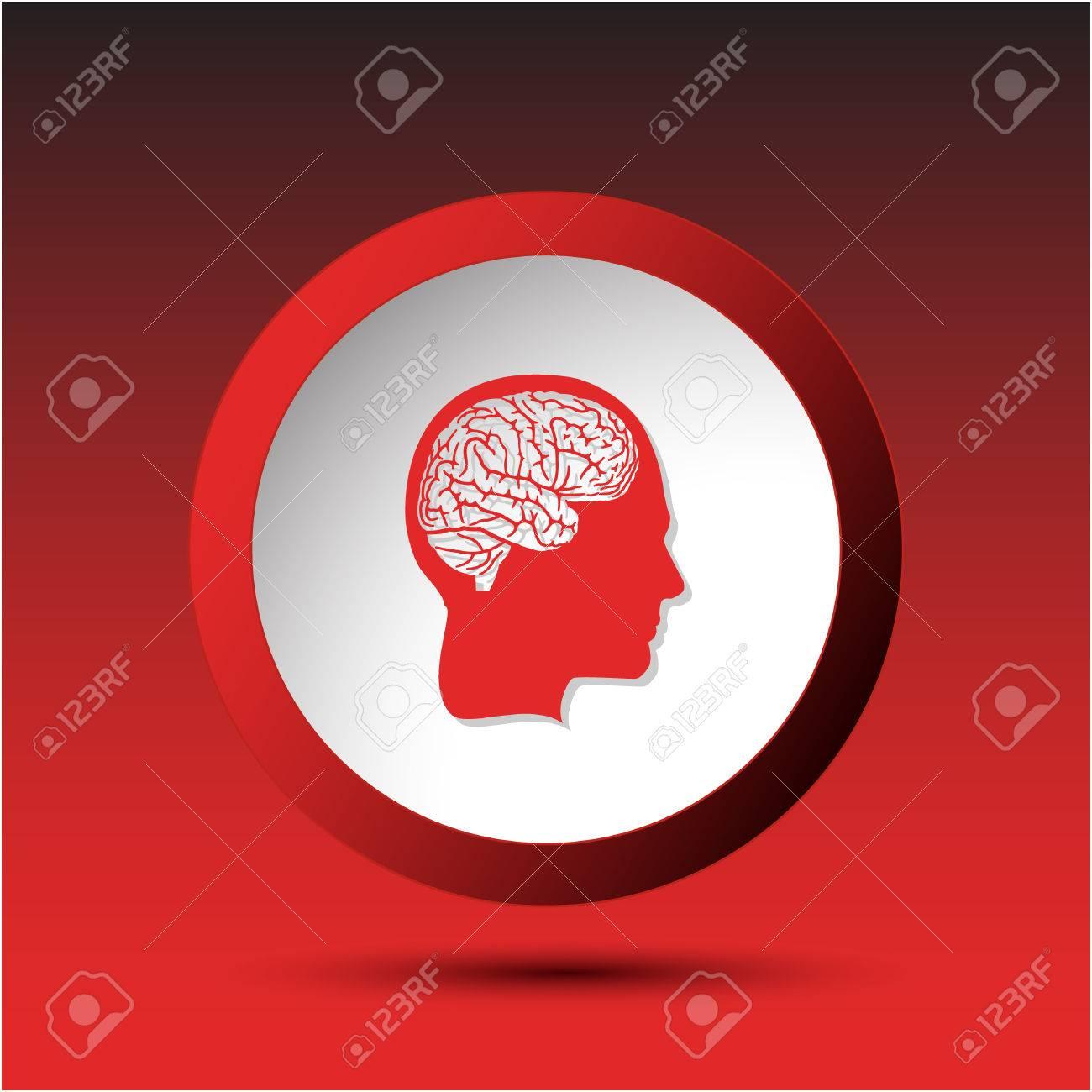 Human brain. Plastic button. Vector illustration. Stock Vector - 25426181