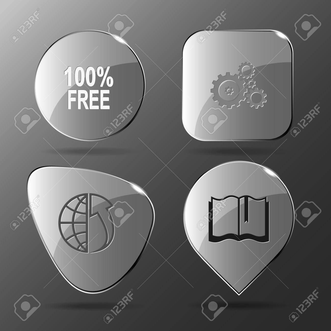4 Images 100 Gratuit Engrenages Globe Et Tableau Livre Business Set Boutons De Verre Icone Illustration Vectorielle