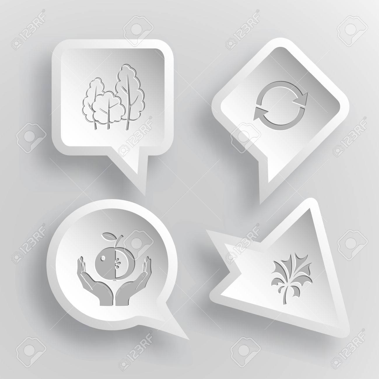 4 Images Trees Recycle Symbol Apple In Hands Plant Nature